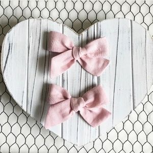Other - Pink Linen Pigtail Hair Bow Set